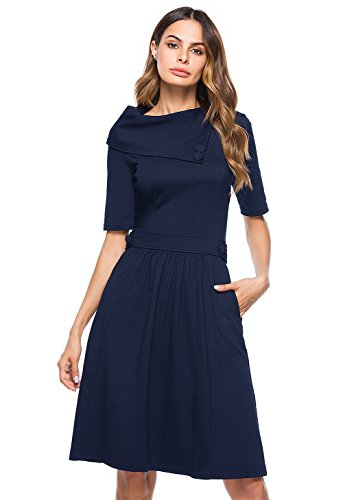 Berydress Women's Vintage A-Line Pockets Party Dress Half Sleeve Navy Knit Skater Dress (#6047_Navy, M) Classic Flare Skirt