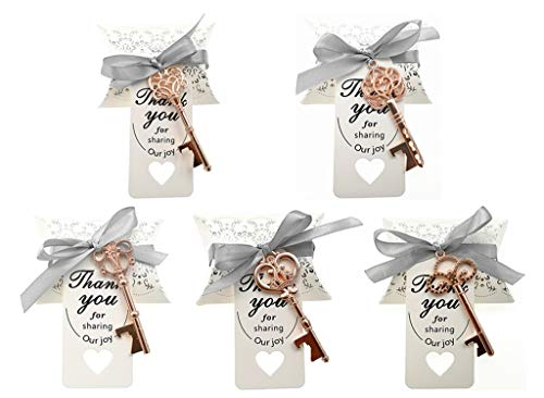 (Kinteshun Wedding Party Favor Set,Skeleton Key Bottle Openers Candy Boxes Escort Tags and Ribbon Souvenir Gift Set(Rose Gold Tone,50 sets with 5 Styles))