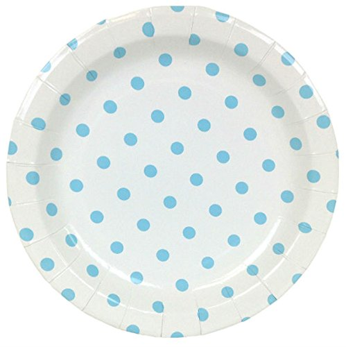 Just Artifacts Round Paper Party Plates 9-Inch (12pcs) - Baby Blue Polka Dot - Decorative Tableware for Birthday Parties, Baby Showers, Grad Parties, Weddings, and Life Celebrations!