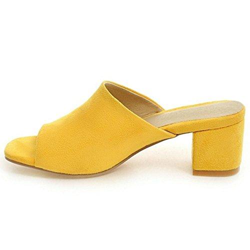 COOLCEPT Damen Peep Toe Mules Yellow