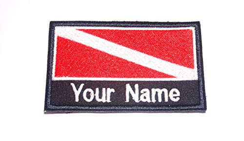 Scuba Patch - Custom Name Text Scuba Diving Diver Dive Flag Patch Morale Patch Hook Backing