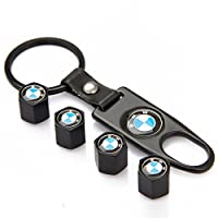 eXeAuto Black Tire Valve Stem Air Caps Cover and Keychain Combo Set For BMW(Blue/White Logo) from eXeAuto auto parts