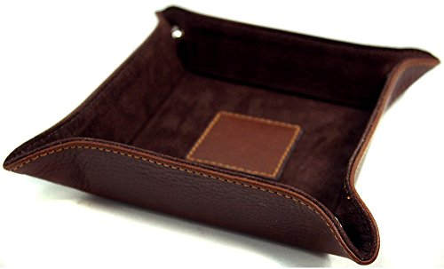 5 Travel Valet Tray - Classico Collection Leather Snap Valet Tray - Brandy