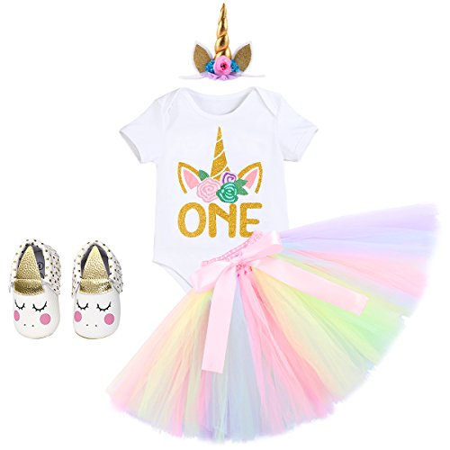 Newborn Baby Girls 1st Birthday Clothes Set Cake Smash Floral Romper Skirt with Unicorn Headband Shoes 4PCS Outfits White