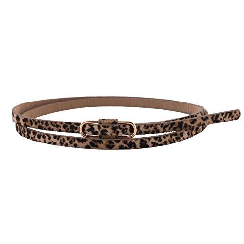 Damara Womens Premium PU Retro Jeans Slim Waist (Waist Leopard)