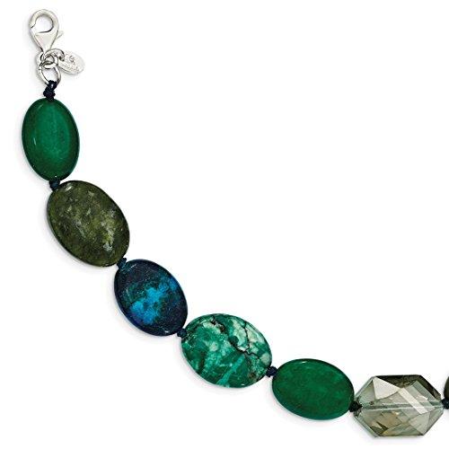 925 Sterling Silver Jade Crystal Jasper Serpentine 1 Inch Extension Bracelet 7 Gemstone Fine Jewelry For Women Gift Set (Gold Bangles Jade White)