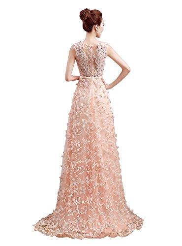 Ansatz Spitze Applique Blumen Beauty Abendkleider Ohne Champagner Tailing Emily Arm Sweep O x7YwtY0
