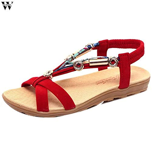 - LINH MIU Women Sandals Beach Summer Sandals Bohemian Flip Flops Women Fashion Shoes Beaded Flat Sandals Jan14 Red