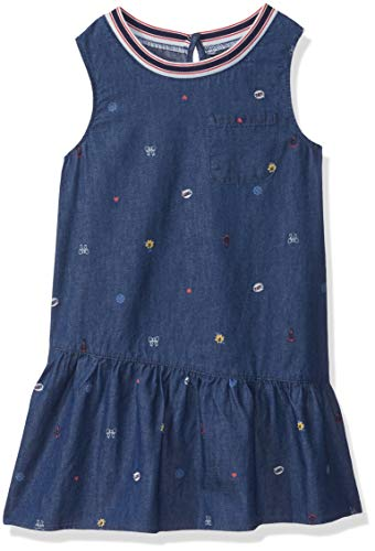 Nautica Girls' Big Patterned Sleeveless Dress, Chambray icon, Small (7)