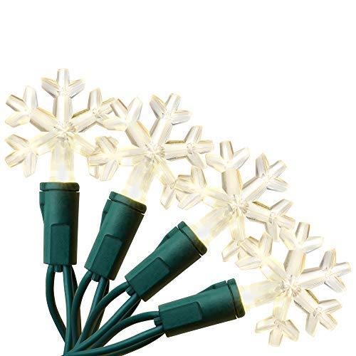 Aurio Outdoor/Indoor Christmas Lights 50-Count Snowflake LED Bulbs, 16.3FT Warm White for $<!--$12.99-->