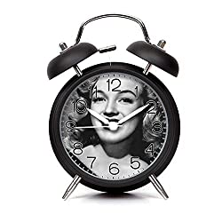 GIRLSIGHT Alarm Clock for Kids Child Retro Silent Pointer Alarm Clock Strong Bedside Tables Cute Loud Alarm Light House Decorations 410.Marilyn Monroe(Black)