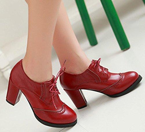 Rouge Bout Femme Lacets Rond Aisun Richelieus Mode A8nx7W7