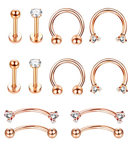 Jstyle 6Pairs Stainless Steel Nose Rings Hoop CZ Nose Piercing Tragus Cartilage Helix Eyebrow Horseshoe Body Piercing Studs Jewelry Rose Gold
