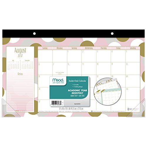 Mead Academic Student Desk Calendar, August 2017 - July 2018, 17-3/4' x 10 7/8', Monthly, Shape It Up, Color Will Vary (60232190)