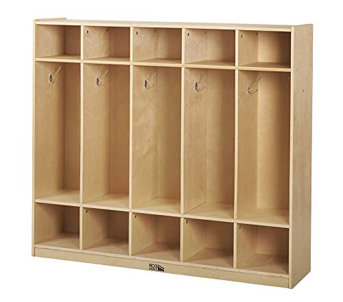 - Wood & Style Office Home Furniture Premium Birch School Coat Locker for Toddlers and Kids, 5-Section, Natural