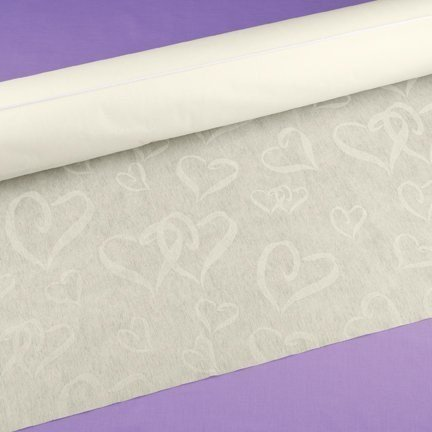 Hortense B. Hewitt 23734 Wedding Accessories Fabric Aisle Runner, 100-Feet Long, Ivory Linked at The Heart