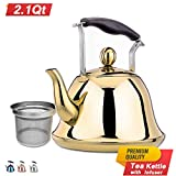 Rainbow Whistling Tea Kettle Stainless Steel Stovetop Teakettle Sturdy Teapot for Tea Coffee Fast Boiling with Infuser Color Rainbow Mirror Finish 2 Liter / 2.1 Quart