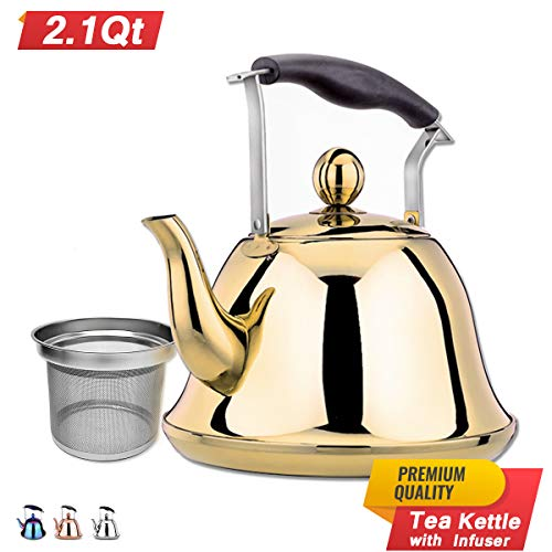 (Gold Whistling Tea Kettle Stainless Steel Stovetop Teakettle Sturdy Teapot for Tea Coffee Fast Boiling with Infuser Color Gold Mirror Finish 2 Liter / 2.1 Quart (Gold))