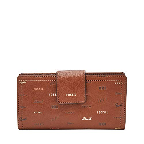 Fossil Embossed Wallet - Fossil Women's Logan Brown Leather Tab Clutch Wallet