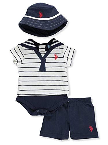 U.S. Polo Assn. Baby Boys T-Shirt and Short Set, The Sailor Look Applique tie Navy, 3-6 Months