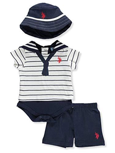 (U.S. Polo Assn. Baby Boys T-Shirt and Short Set, The Sailor Look Applique tie Navy, 3-6)