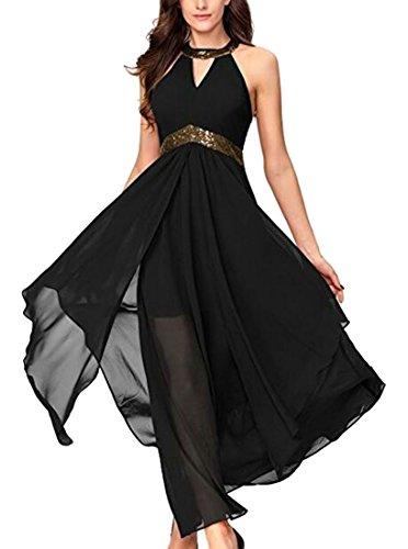 Party Black Cocktail Dress Maxi Women Elegant Wedding Evening Jaycargogo Chiffon pqW0fn6g