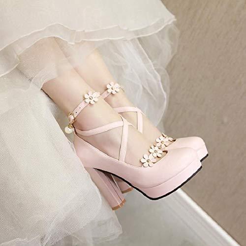 De Flores Femeninas Cruzadas Plataforma Individuales Y Dulce Súper Pink Impermeable Alto Yukun Otoño Perla Belleza Primavera Correas Zapatos Tacón Gruesa Con 5xvqAqP