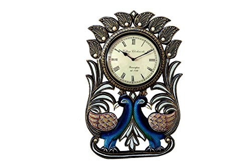12 x 18 Double Peacock Hand Crafted And Hand Painted Wooden Ethnic Vintage Wall Clock ()