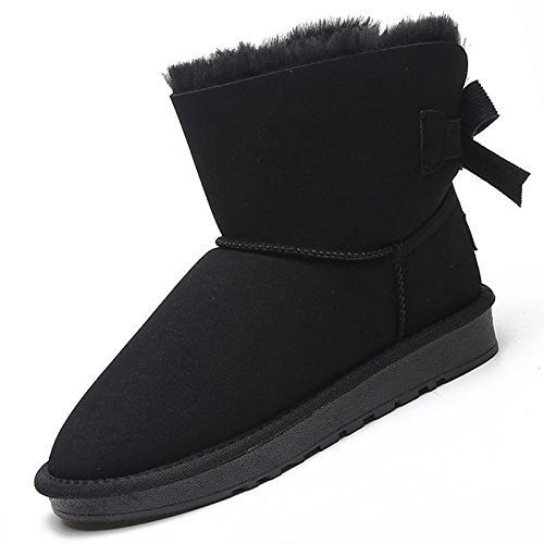 Black US5.5   EU36   UK3.5   CN35 Black US5.5   EU36   UK3.5   CN35 HSXZ Women's shoes PU Winter Snow Boots Boots Flat Heel Round Toe Mid-Calf Boots Bowknot for Casual Black Beige Khaki