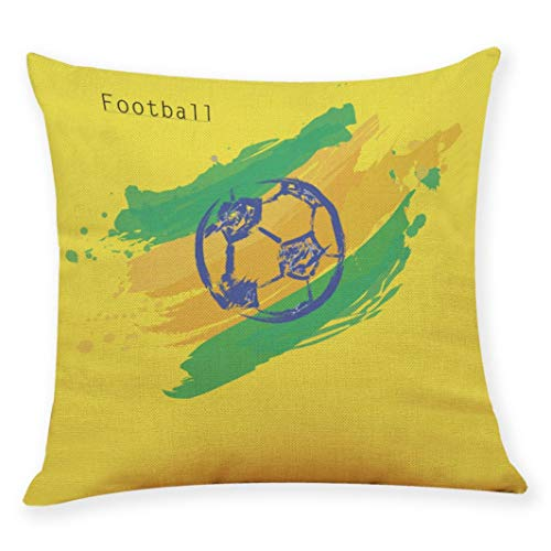 Kim88 Decorative Throw Pillow Cases Football Soccer Cushion Cover 18x18 inch Pillow Covers