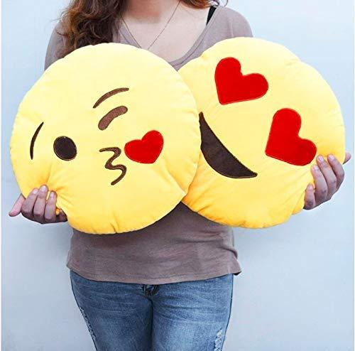 LONG Heart Eyes and Flying KissSoft Smiley Cushion/Emoji/Yellow Pillow Cushions   35 cm Set of 2