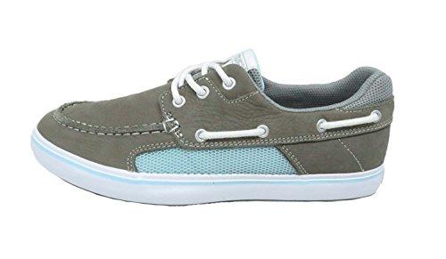 XTRATUF Finatic II Women's Leather Deck Shoes, Gray & Blue (22310) by Xtratuf (Image #1)
