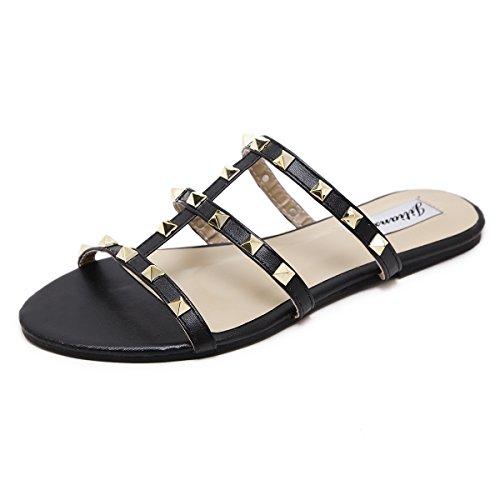 RUGAI-UE nuevos zapatos de mujer de verano están de moda. black
