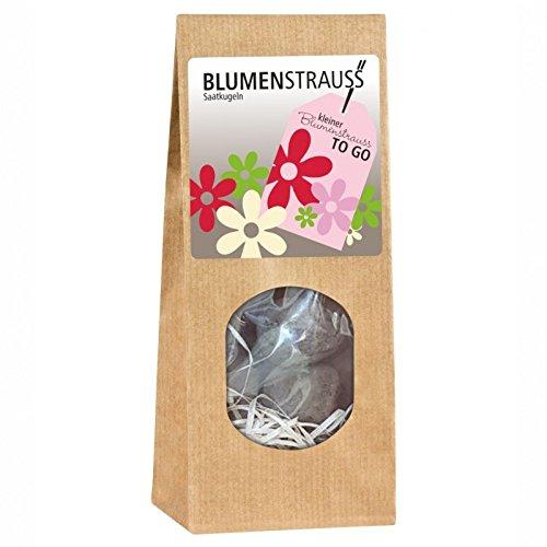 Kleiner Blumenstrauß to go 3 Blumenstrauss Saatkugeln, Verpackt in Einer Schicken Geschenktüte Pflanzset Geschenk Deko YD 1-001-632 Geschenkartikel