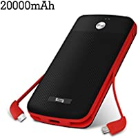 Portable Chargers 20000mah TONV Perfect 2.0 Built-in USB Type C Micro USB Cable External Battery Pack for iPhone, Samsung,Huawei, HTC,LG (BLACK)