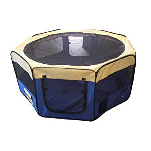 Cool Runners 34-inch x 34-inch x 24-inch Indoor/Outdoor Portable Soft Side Pet Play Pen/Kennel for Dogs or Cats (8… Click on image for further info.