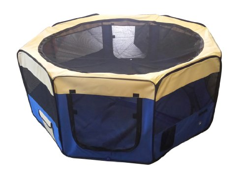 Cool Runners 34-inch x 34-inch x 24-inch Indoor/Outdoor Portable Soft Side Pet Play Pen/Kennel for Dogs or Cats (8 Panels)