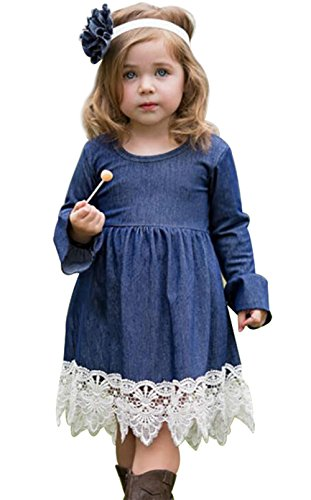 Girls Princess Long Sleeve Denim Lace Evening Dress Kids Party Dress Size 3-4Years/Tag110 (Blue)]()