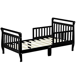 Dream On Me Classic Sleigh Toddler Bed, Black with Spring Crib and Toddler Bed Mattress, Twilight 13