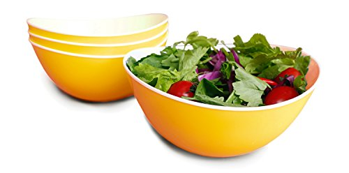 Solid Pasta Bowl - 48-oz Pasta/Salad Bowls,Set of 4,Unbreakable Plastic and Wavy Rim,2-Tone,Orange and White,Honla