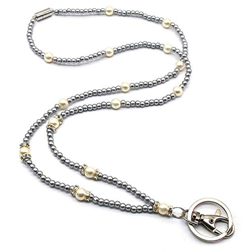 (Daisy-OU Beaded Badge Lanyard Necklace for Women with Breakaway Safety Clasp Lanyard for Keys and Womens Lanyards with ID Holde )