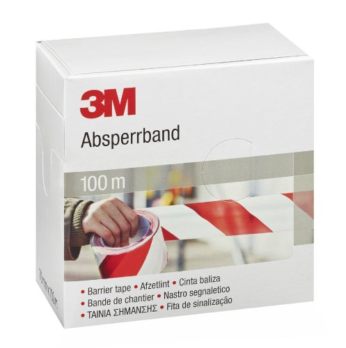 3   M Ruban adhà sif Barrià ¨ re, 70   mm x 100   m, rouge/blanc, 596615 70 mm x 100 m 3M 596615