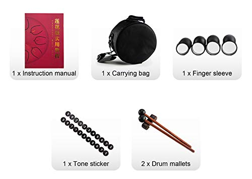 10 Inch 11 Notes Steel Tongue Drum Highest Quality D Major Percussion Hang Drum Instrument Padded Travel Bag and Mallets Included Yoga Meditation Music Therapy Lotus Gold by KELEODY (Image #5)