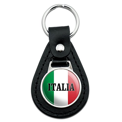 (Italia Italy Italian Flag Black Leather Keychain)
