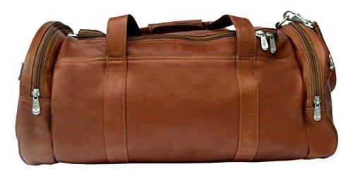 Piel Custom Personalized Leather Adventurer Gym Bag in Saddle
