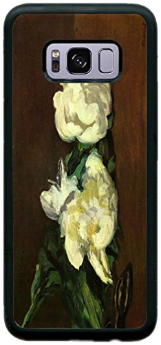 Rikki Knight Claude Monet Art Still Life White Peony Design Case Cover Rubber with Bumper Protection for Samsung Galaxy S8 - Black (Still Peony Life)