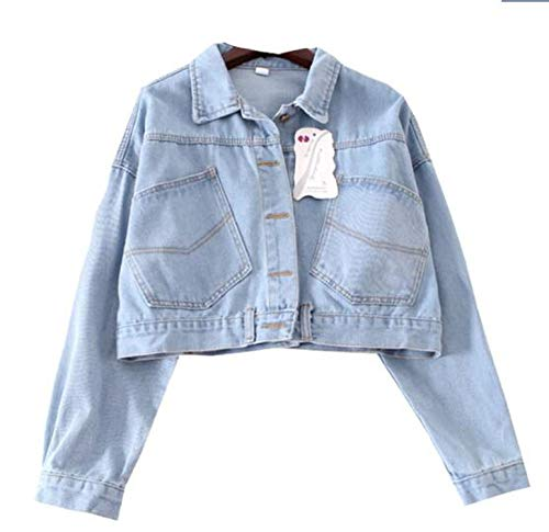 Women Jacket Solid Batwing Sleeves Jackets Female Short Paragraph Loose BF Wind Wild Sweet,Light Blue,L