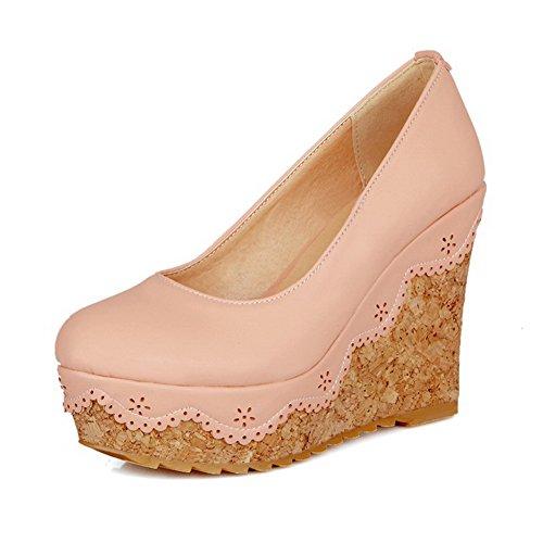 Rotonda Punta Materiale Tacchi 38 Pompe Rosa Chiusa Molle Weipoot scarpe Donne w6REtR