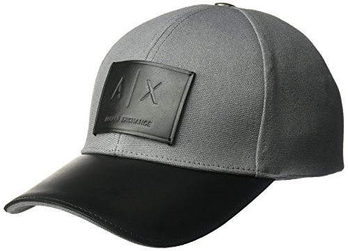 Armani Exchange Men's Logo Patch Full Back Hat, Smoked Pearl/Black, - Exchange Armani Shop