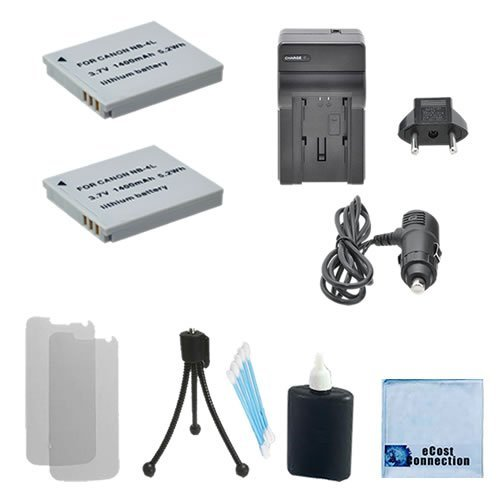 2 NB-4L Rechargeable Batteries + Car/Home Charger For Canon PowerShot ELPH Series 100 HS, 300 HS, 310 HS, 330 HS, TX1, Digital Series 40, 50 & More.. Camera + Complete (Lenmar Canon Replacement Battery)